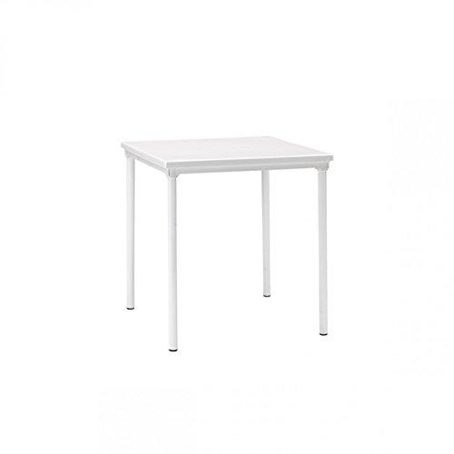 Tavolo da giardino impilabile con piano liscio in tecnopolimero e gambe in alluminio verniciato. 80x80xh.75 colore lino