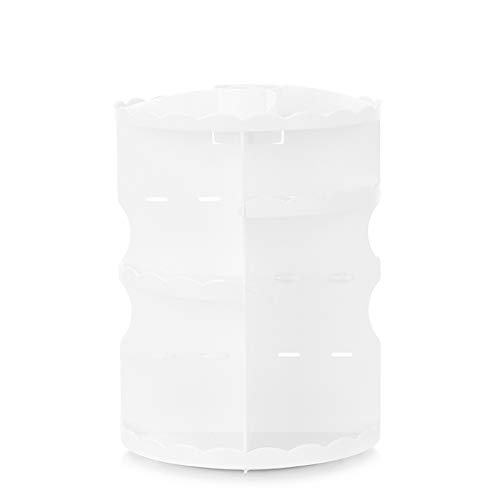 Ysy Trousse De Maquillage Rotative De Table Ronde Trois Couches Stockage Salle De Bains De Cosmétiques Table De Soins De La Peau Portable,White