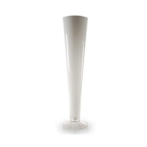 CYS® Trompete Vase mundgeblasenes Glas Pilsner Vasen für Mittelpunkt, glas, WHITE/1PCS, 20