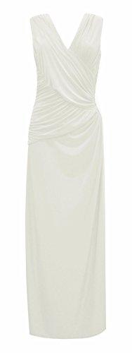 Damen Diamant Seite Trimmen V -Ausschnitt Maxi Kleid Sahne