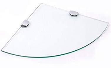 Cabinetsforbathrooms - mensola angolare in vetro spesso 6 mm, con 2 graffette cromate, 250 x 250 mm
