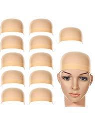 LABOTA Copricapo per Parrucche di Nylon Cappuccio per Parrucca Beige Naturale Copricapo di Parrucche per Donne e Uomini 12 Pezzi
