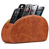 Londo Fernbedienungshalter mit 5 Taschen - Platz für DVD, Blu-Ray, TV, oder Apple TV Fernbedienungen - Italienisches Echtleder mit Wildlederfutter -Schlank Kompakt für die Aufbewahrung im Wohn (Braun) (Apple Remote Desktop)