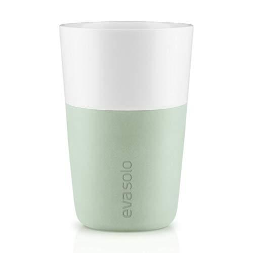 Eva Solo 2 Stück Cafe Latte-Becher Eucalyptus green/hellgrün 360 ml Kaffeebecher Green Latte Becher