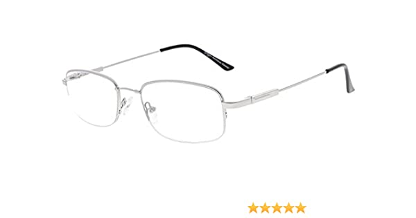 f0260eef0db7e9 Eyekepper Lunettes de vue demi-cerclee Progressive 3 niveau vision Anti UV  lunettes loupe lunettes de lecture souple homme femme (Silver, 1.50)   Amazon.fr  ...