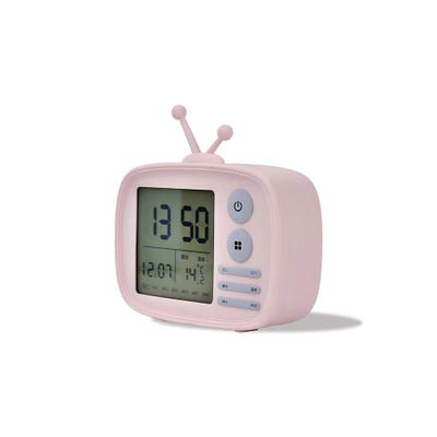 TV-Digital Wecker mit großen Anzeige mit 5 Alarmtöne 2-Stufen Helligkeit Dimmbar Snooze Funktion Anzeige DatumTemperatur USB-Ladegerät-Anschluss 12/24H Anzeige Für Zuhause Schlafzimmer Office , Pink (Cd Player Lila Mädchen)