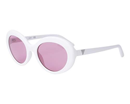 Guess Unisex-Erwachsene GU7576 21S 55 Sonnenbrille, Weiß (Bianco/Bordeaux),