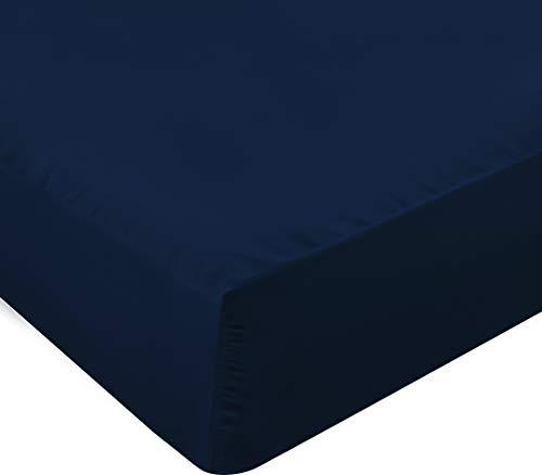 Utopia Bedding Sábana Bajera Ajustable - Bolsillo Profundo - Microfibra Cepillada - Azul Marino, 150...