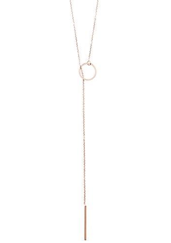 Happiness Boutique Damen Lange Kette in Rosegold | Y Kette mit Stab und Kreis Anhängern Halskette im Geometrischen Design