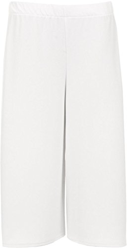 Fashion Oasis Women's Elasticated 70's Wide Leg Culottes Shorts Knee Length Palazzo Plus Size 8-10, 12-14, 16-18, 20-22, 24-26, 28-30-30
