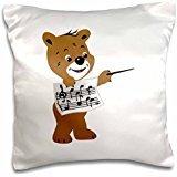 Susans Zoo Crew Music - bear holding sheet music - 16x16 inch Pillow Case