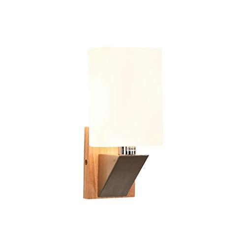 Cxmm Wandleuchte, Nordic Massivholz LED Wandleuchte Einfache Moderne Wohnzimmer Wandleuchte Kreative Studie Schlafzimmer Nachttischlampe