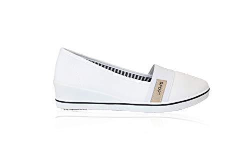 Frentree Damen Ballerinas Sportliche Wedges Keilpumps Slip Ons | Bequeme Slippers mit Keilabsatz für Sommer, Farbe:weiß, Größe:36