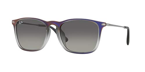 Ray-Ban Men's RB4187F Chris (F) Sunglasses Violet Shot On Black / Grey Gradient Dark Grey 54mm