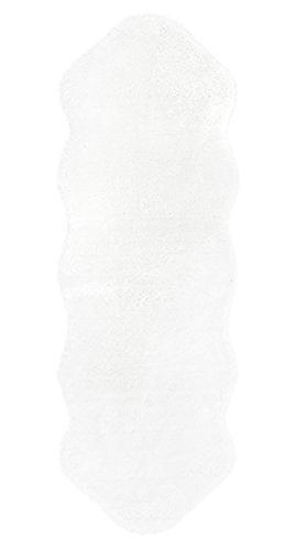 Andiamo 708039 Lambskin Kunstfell Schaffell Lammfell Fellteppich Fellimitat Bettvorleger Tierfellteppich Langflor Teppich, Polypropylen, Weiß, 160 x 55 x 2,1 cm