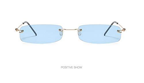 WSKPE Sonnenbrille,Mode Rahmenlose Sonnenbrille Frauen Ultra Light Rechteckig Schmal Klein Sonnenbrille Männer Uv400 Gold Frame Licht,Blaue Linse