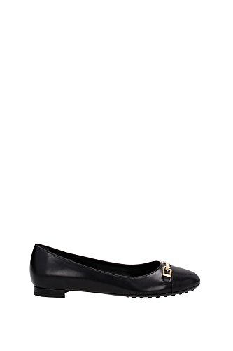 ballet-flats-tods-women-leather-black-and-gold-xxw0vw0n3406y6b999-black-3uk