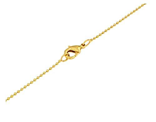 Kugelkette 18kt vergoldet 1,5 mm breit Länge 60 cm Halskette Goldkette Herren-Kette Anhängerkette Damen Geschenk Schmuck ab Fabrik Italien tendenze PG1,5-60