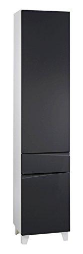 Preisvergleich Produktbild CAVADORE Hochschrank SHARPCUT / hoher Badschrank mit gefräster Griffleiste / Front Anthrazit metallic / 2 Türen rechts & 1 Schublade / Korpus Melamin weiß / Glasablage anthrazit / 40x183x33cm (BxHxT)