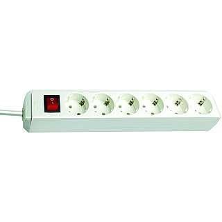 Brennenstuhl Eco-Line 6-fach Steckdosenleiste mit Schalter, weiß