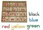 Sassoon Small Movable Alphabet in Red with Blue vowels LETTERS ONLY