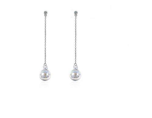 Canarea Ohrringe Silber Mädchen Damen ohrhänger Silber 925 lang mit Glas Perlen Glitzer Studs Mode Ohrschmuck für Frau/Freundin/Tochter,Hypoallergen