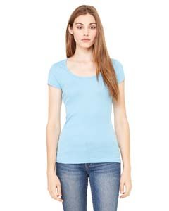 Bella+Canvas: Sheer Mini Rib Scoop Neck T-Shirt 8703:00:00, Größe:M;Farbe:Ocean Blue -