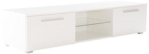 Soliving Monaco Meuble TV LED, Bois, Blanc, 160 x 45 x 35 cm