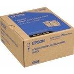 Preisvergleich Produktbild Epson Aculaser C 9300 D 2 TN - Original Epson C13S050609 / C9300 / Toner Spar-Set Black 2 Stück - 2 x 6500 pages