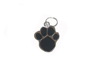 Dog Lovers Paw Shaped Collar Black Silver Pendant For Pets Dogs Color May Vary - 1 Piece