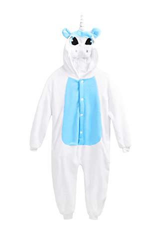 Kostüm Einhorn Strampelanzug - Matt Viggo Schlafanzug Mädchen Jungen Pyjama Unisex Jumpsuit Kinder Tiere Kostüm Fasching Overall Hausanzug, Einhorn Blau, 120