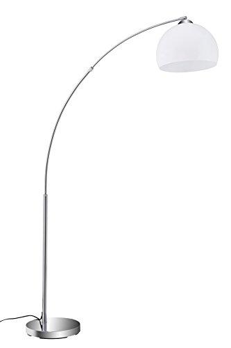 Briloner Leuchten - Stehlampe, Stehleuchte, Bogenleuchte, Metall, E27, Chrom-Weiß, 168 x 124.4 x 168 cm