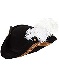 Juvale Dreispitz Piratenhut - Fun Party Pirat Kostüm Colonial Hat 43,2 x 33 x 8,9 cm (Patriot Boy Kostüm)