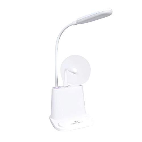 Dicomi 2 Modi Multifunktions Schreibtischlampe LED Leselampe Nachtlicht mit Kleinem Lüfter und Handyhalter für Familie, Schreibtisch, Büro, Schlafzimmer 5V 1W (11,2x12,3x43,6CM) Weiß-A -