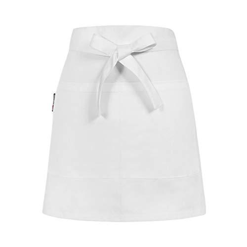 Dexinx Unisex Kurze Taille Schürze mit Zwei Großzügigen Taschen Restaurant Server Chef Kellnerin Kellner halbe Schürzen Weiß Einheitsgröße Weiß Server