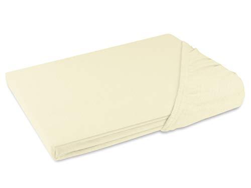 Schlafgut Spannbetttuch Jersey aus 100% Baumwolle - Steghöhe ca. 30 cm - in 24 Farben - in 3 Größen, 140-160 x 200 cm, Ecru -