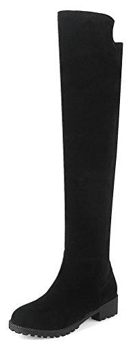Easemax Damen Elegant Langschaft Nubuk Overknee Profilsohle Stiefel Schwarz 41 EU