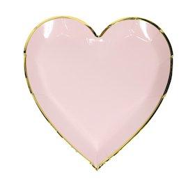 10 Bezaubernde Pastell Rosa Herz Teller mit Gold Glänzendem Rand