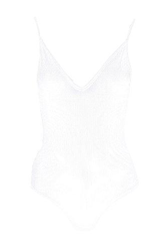 Crème Cream Womens Tall Kacy Rib Basic Triangle Plunge Bodysuit - 6 Crème