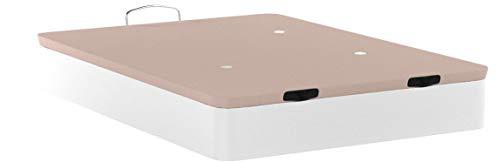 HOGAR 24 Canapé Abatible Madera Gran Capacidad con Tapa 3D y Válvulas de Transpiración, con Esquineras en Madera Maciza, Color Blanco, 135X190cm