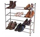 2Etagen/3Etagen/4Etagen stapelbar und erweiterbar Schuhregal Organizer Aufbewahrung Schuhregal Metall [ausziehbar] von echten Zubehör ® Ideal für überall um das Haus., 4 Tier Shoe Rack