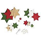 Rayher 66050000 Holz-Sterne Set rot/grün Töne, 11x16 cm, Deko zum Hängen, SB-Btl 1 Set