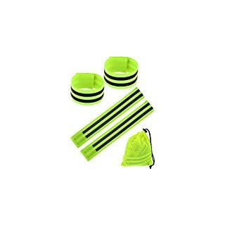 8 Pieces Reflective Wristbands Safety Reflector Straps Elastic Wristbands Armbands with Mesh Storage Bag, Fluorescent Green
