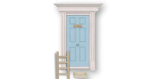 Ratoncito Pérez: Puerta mágica Azul con Escalera, Recipiente para dientes y 'Diario de mis dientes'. Azul. 1 unidad.