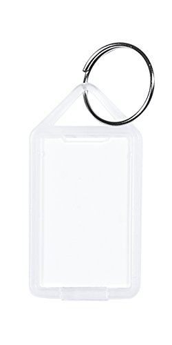 Schlüsselanhänger / Klapp-Anhänger aus Kunststoff mit Ring, aufklappbar und beidseitig lesbar (Groß - Nr. 12) (20 Stück, transparent)
