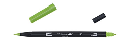Tombow Dual brush-195-Pennarello Doppia Punta Pennello, colore: verde chiaro