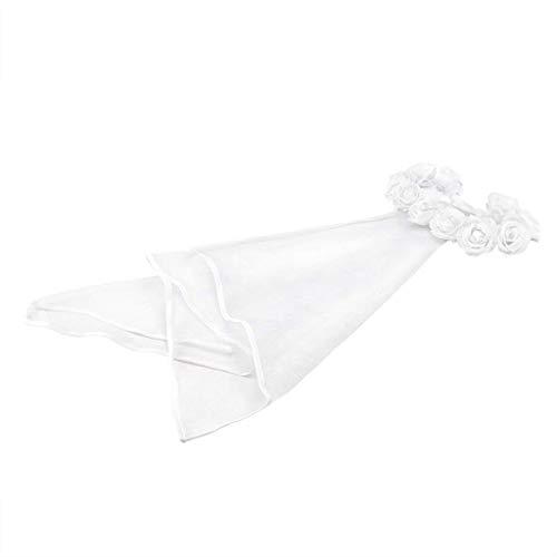 GET Fresh Brautblumen-Haar-Kranz mit weißer Schleier-Girlande, Hochzeit Stirnband Krone einstellbar Lace Up Ribbon für Bachelorette -