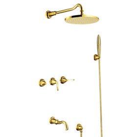 Contemporaneo ti-pvd finitura in ottone massiccio precipitazioni due maniglie doccia rubinetti + maniglia soffione