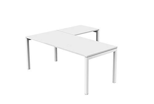 Ideapiu Schreibtisch weiß 140 x 80 x 72 Verlängerungen bis 80 x 60 cm Bridge Tischplatte laminiert, ohne Kante Eiche Metallgestell Aluminium -