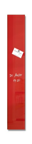 SIGEL GL104 kleines Glas-Magnetboard 12 x 78 cm rot / Magnetleiste Artverum - weitere Farben (Rote Gläser Großhandel)